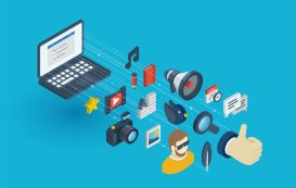 Blog integrated 3d web icons. Digital network isometric progress concept. Connected graphic design line growth system. Background whith video content publish, post writing, follower. Vector Infograph